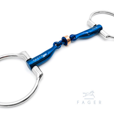 Sally Double jointed Titanium D-snaffle with copper roller (Fager)